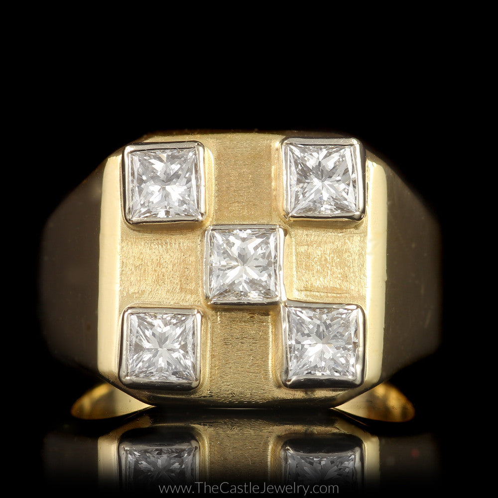 Square Shaped Checkerboard Ring with 5 Princess Cut Diamonds 1cttw in 14K Yellow Gold - The Castle Jewelry  - 1