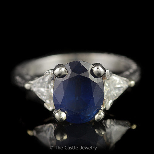 Oval Sapphire 3 Stone Ring with 2 Trillion Cut .50cttw Diamond Sides in 14K White Gold - The Castle Jewelry  - 1