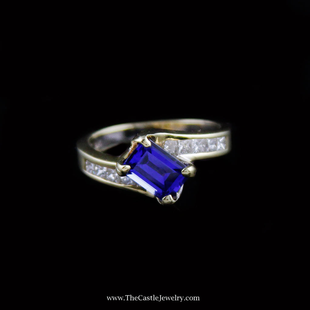 Gorgeous Emerald Cut Tanzanite Ring w/ Diamond Band in 18K Yellow Gold - The Castle Jewelry  - 1