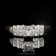 Princess Cut Diamond Engagement Ring Channel Set Diamond Sides .75cttw 18k White Gold - The Castle Jewelry  - 1