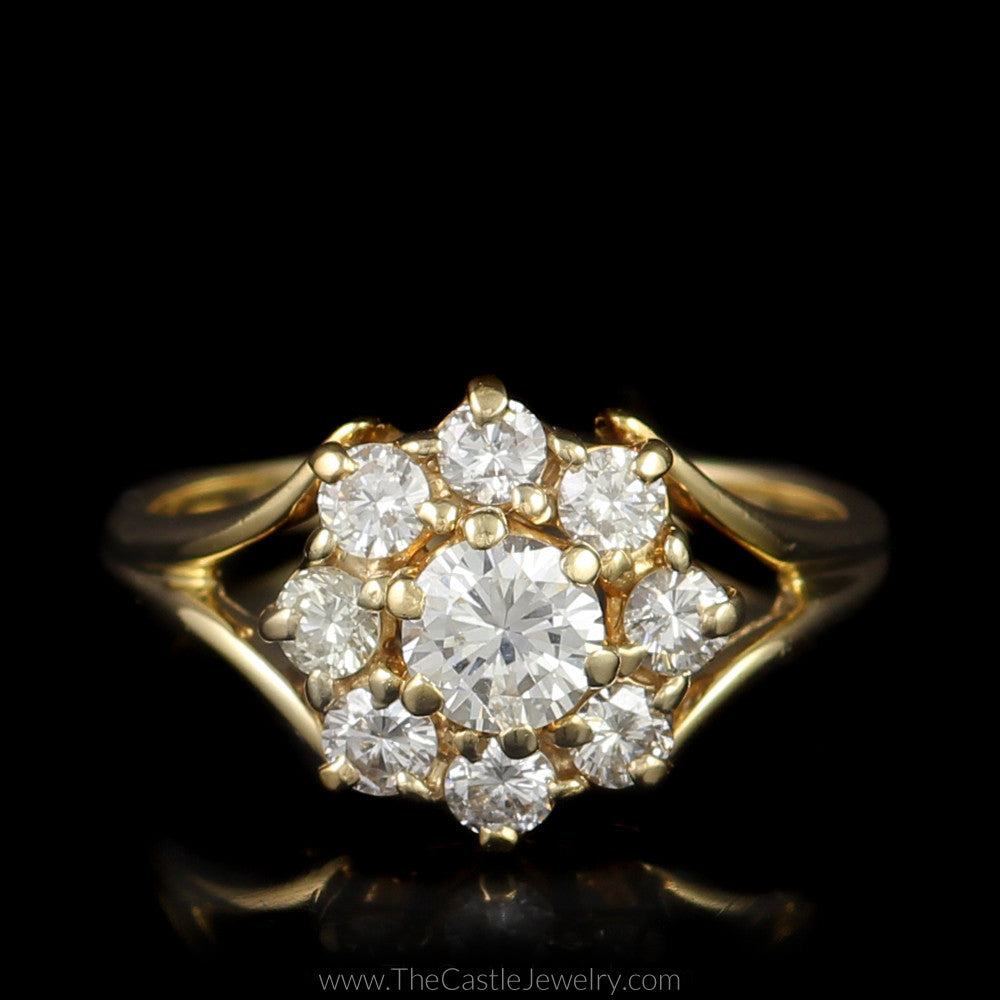 Round Flower 9 Diamond 1cttw Cluster Split Shank Mounting 14K Yellow Gold - The Castle Jewelry  - 1