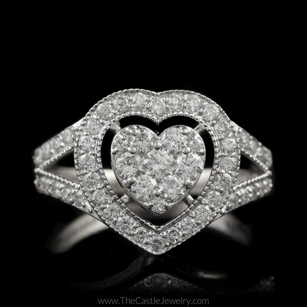 Gorgeous Heart Shaped Diamond Cluster with Bezel & Split Shank Diamond Accent Sides in 14K White Gold - The Castle Jewelry  - 1