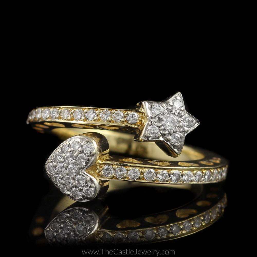 Unique Star & Heart 1/2cttw Pave Diamond Split Bypass Ring in 14K Yellow Gold - The Castle Jewelry  - 1