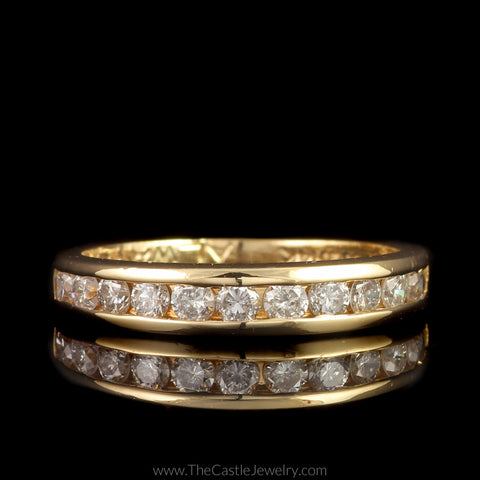 Channel Set Round Brilliant Cut 1/2cttw Diamond Band in 14K Yellow Gold