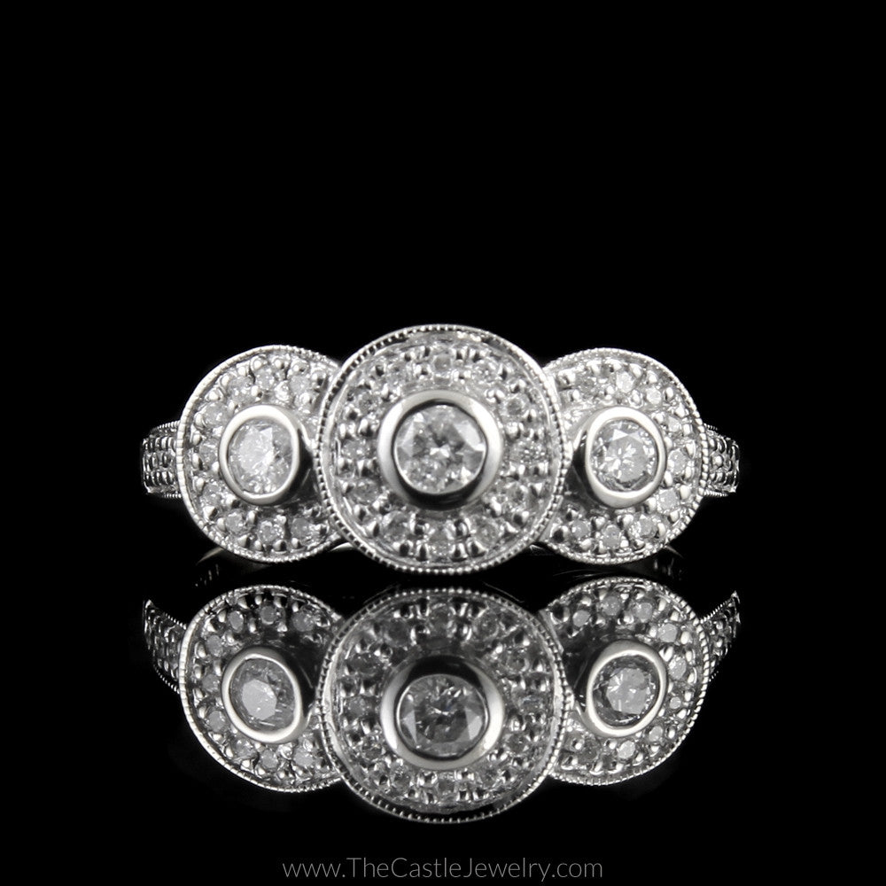 Triple Bezel Set 1/2cttw Diamond Ring w/ Bezel Accents in 14K White Gold - The Castle Jewelry  - 1