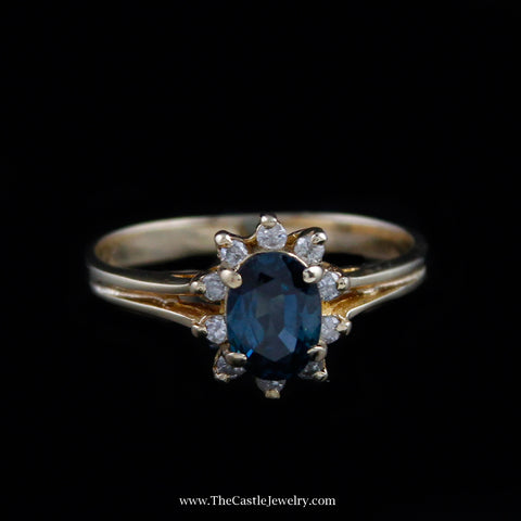 Beautiful Oval Cut Sapphire Ring w/ Diamond Bezel in 10K Yellow Gold