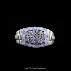 Gentlemen's .75cttw Diamond Cluster Ring w/ Ridged Design Sides in White & Yellow Gold - The Castle Jewelry  - 1