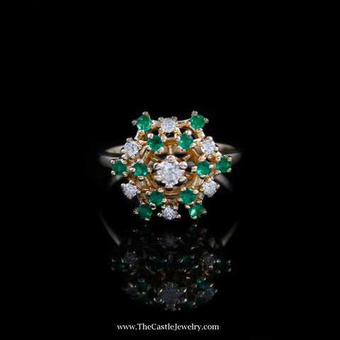 Beautiful Emerald and Diamond Cluster Ring in 14K Yellow Gold