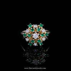 Beautiful Emerald and Diamond Cluster Ring in 14K Yellow Gold - The Castle Jewelry  - 1