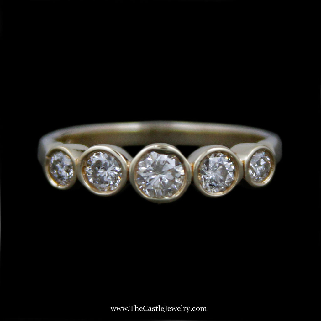 Beautiful .50cttw Round Bezel Set Diamond Band in 14k Yellow Gold - The Castle Jewelry  - 1