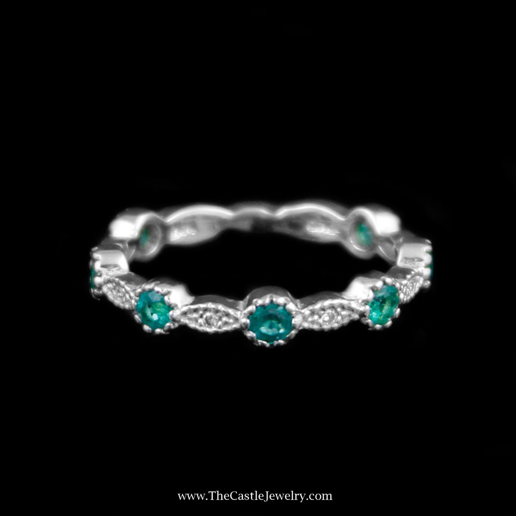 Charming Stackable Round Emerald Band w/ Diamond Accents in White Gold - The Castle Jewelry  - 1