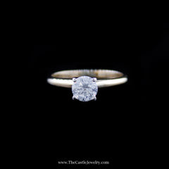Stunning Round Brilliant Cut Diamond Solitaire Engagement Ring in Yellow Gold - The Castle Jewelry  - 1