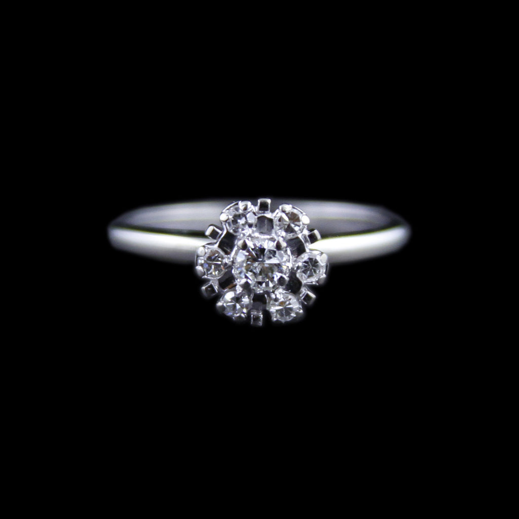 Charming Round Cluster Ring w/ 7 Round Brilliant Cut Diamonds in White Gold - The Castle Jewelry  - 1