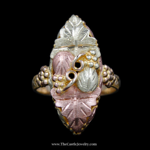 Charming Oblong Tri Colored Gold Leaf Design Ring in 10k Tri Gold