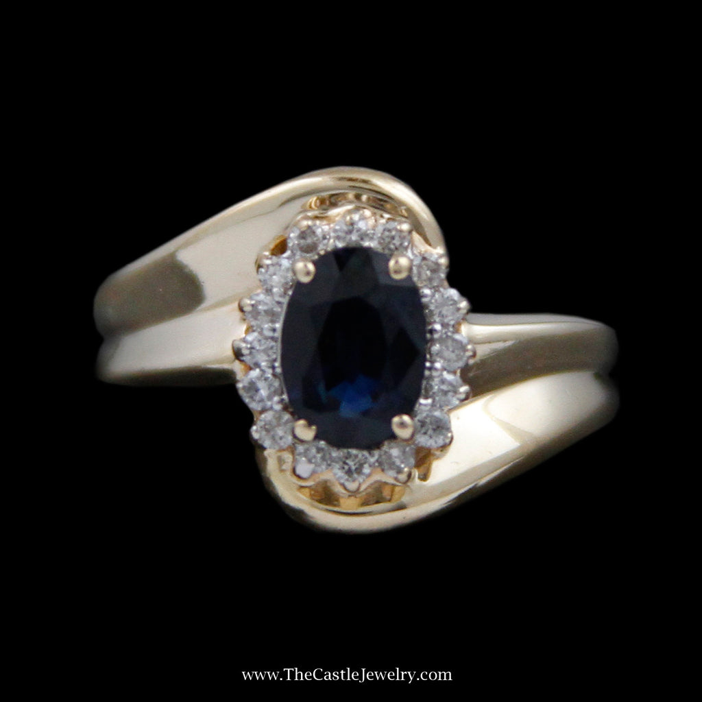 Oval Sapphire Ring w/ Round Brilliant Cut Diamond Bezel/ Bypass Mounting in 14k Yellow Gold