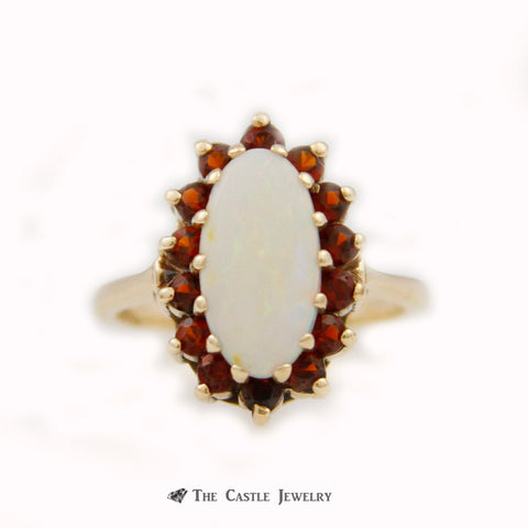 Oblong Oval Opal Ring w/ Round Garnet Gemstone Bezel Crafted in 10k Yellow Gold