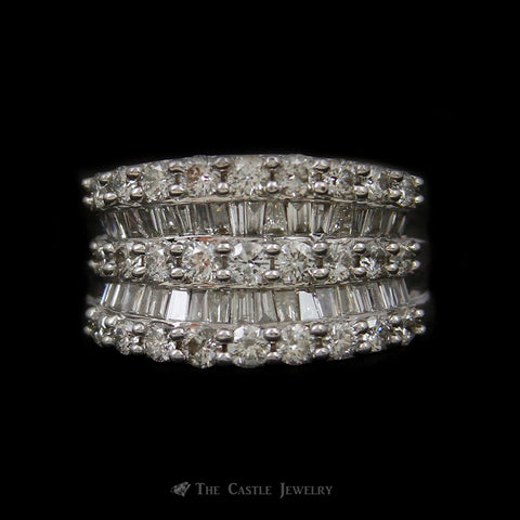 Concave Design Diamond Band w/2cttw of Round Brilliant Cut & Baguette Diamonds in 14k White Gold