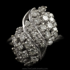 Antique Single Cut 1cttw Diamond Waterfall Cluster Ring in 14K White Gold - The Castle Jewelry  - 1