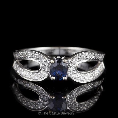 Oval Sapphire Ring with Curved Split Shank Diamond Accented Mounting in 18K White Gold - The Castle Jewelry  - 1