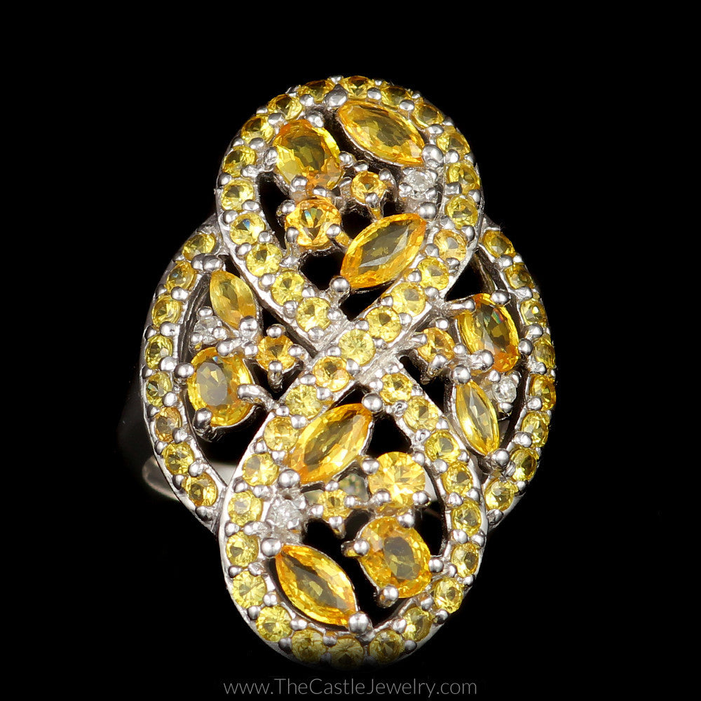 Large Citrine Figure 8 Infinity Cocktail Ring with Diamond Accents in 14K White Gold - The Castle Jewelry  - 1