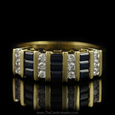 Baguette Sapphire and Round Diamond Band in 14K Yellow Gold