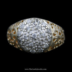 Men's Round Brilliant Cut .50cttw Diamond Kentucky Cluster Ring in 14k Yellow Gold - The Castle Jewelry  - 1