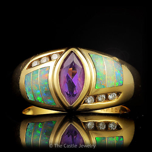 Kabana Marquise Cut Amethyst, Opal Inlays and Diamond Designer Ring in 14k Yellow Gold Setting - The Castle Jewelry  - 1