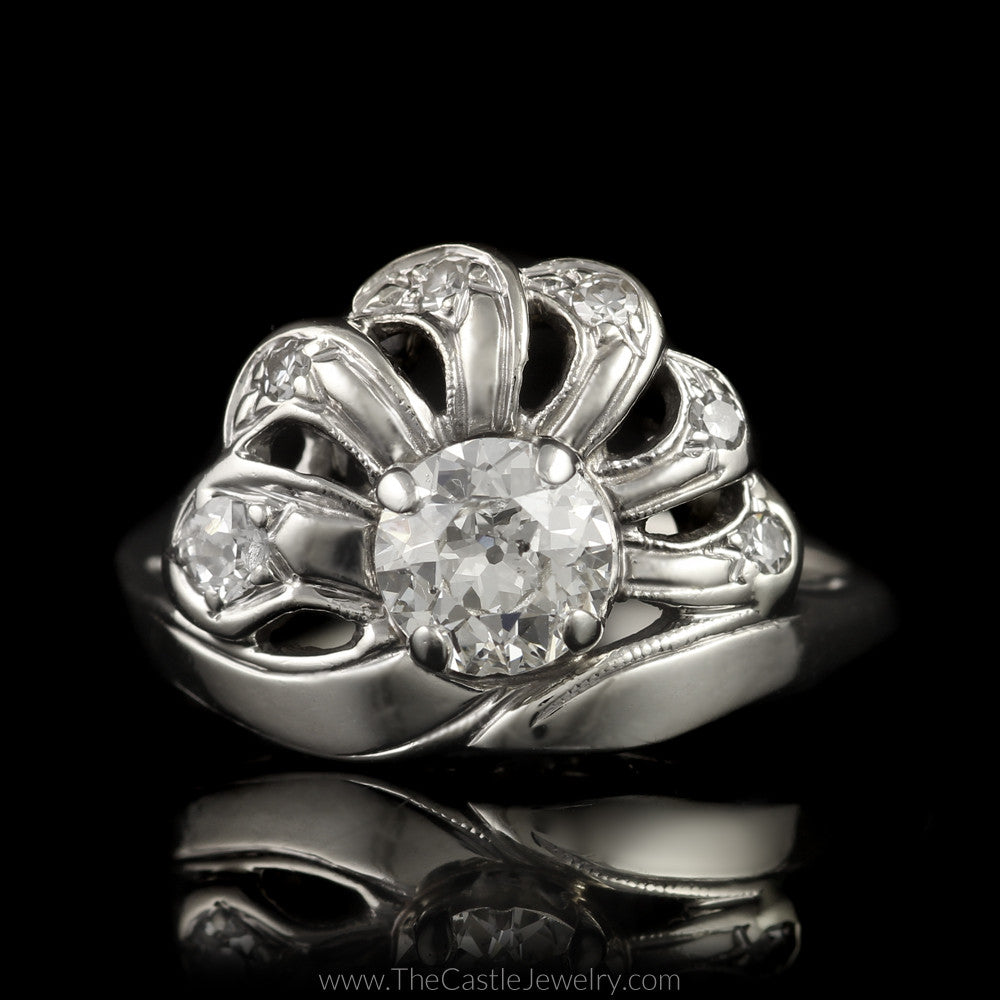 Antique Old European Cut 3/4cttw Diamond Ring Fan Design in 14K White Gold - The Castle Jewelry  - 1