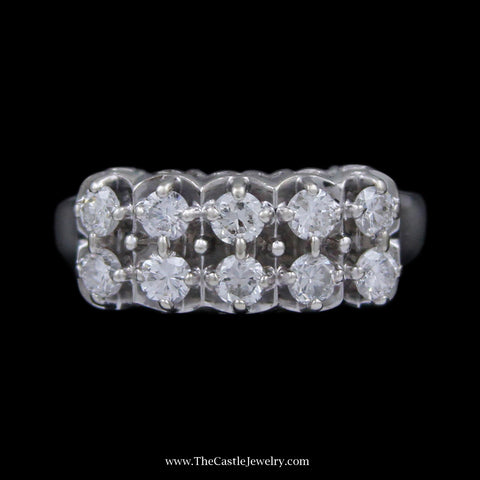 .75cttw Double Row Prong Set Round Brilliant Cut Diamond Band w/ Open Mounting in 14k White Gold