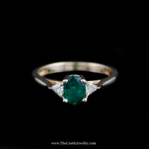 Beautiful Oval Emerald Ring w/ Trillion Cut Diamond Sides in Yellow Gold