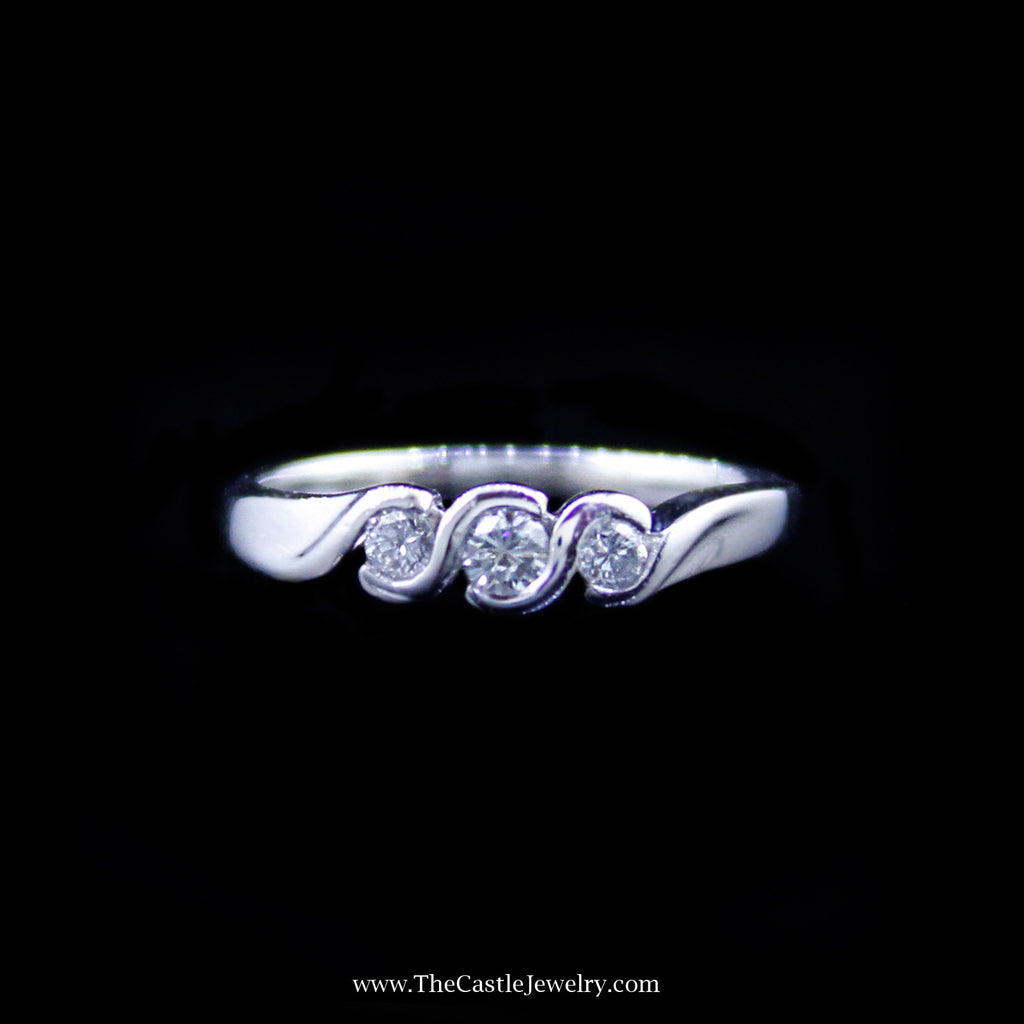 Lovely .25cttw Diamond Ring in Scroll Design Mounting in Platinum - The Castle Jewelry  - 1