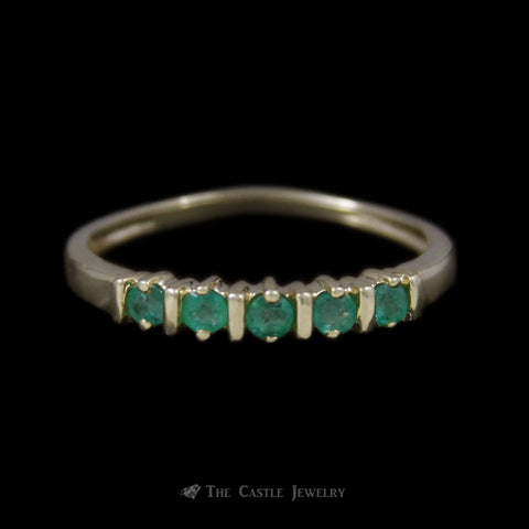 Round Emerald Band in 10K Yellow Gold w/ Bar Accents