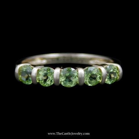 Charming Round Peridot Gemstone Band w/ Bar Design Mounting in 14k Yellow Gold