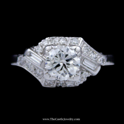 .90ct Round Brilliant Cut Diamond Antique Style Ring with Bypass Round Brilliant Cut and Baguette Diamond Accents in Platinum