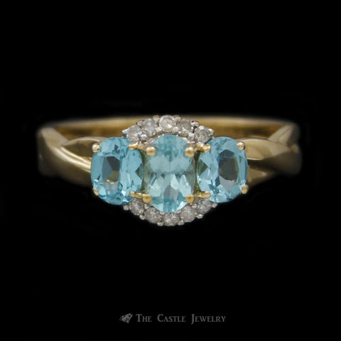 Triple Oval Blue Zircon Ring w/ Diamond Accents in 14K Yellow Gold
