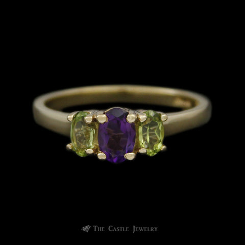 Oval Amethyst & Peridot 3 Gemstone Ring Crafted in 10k Yellow Gold