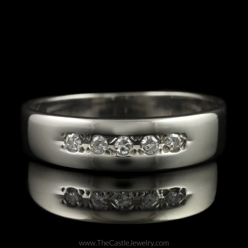 Single Cut 5 Diamond Wedding Band in 14K White Gold - The Castle Jewelry  - 1
