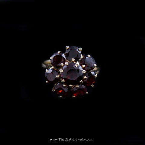 Beautiful Garnet Flower Design Cluster Ring in 14K Yellow Gold