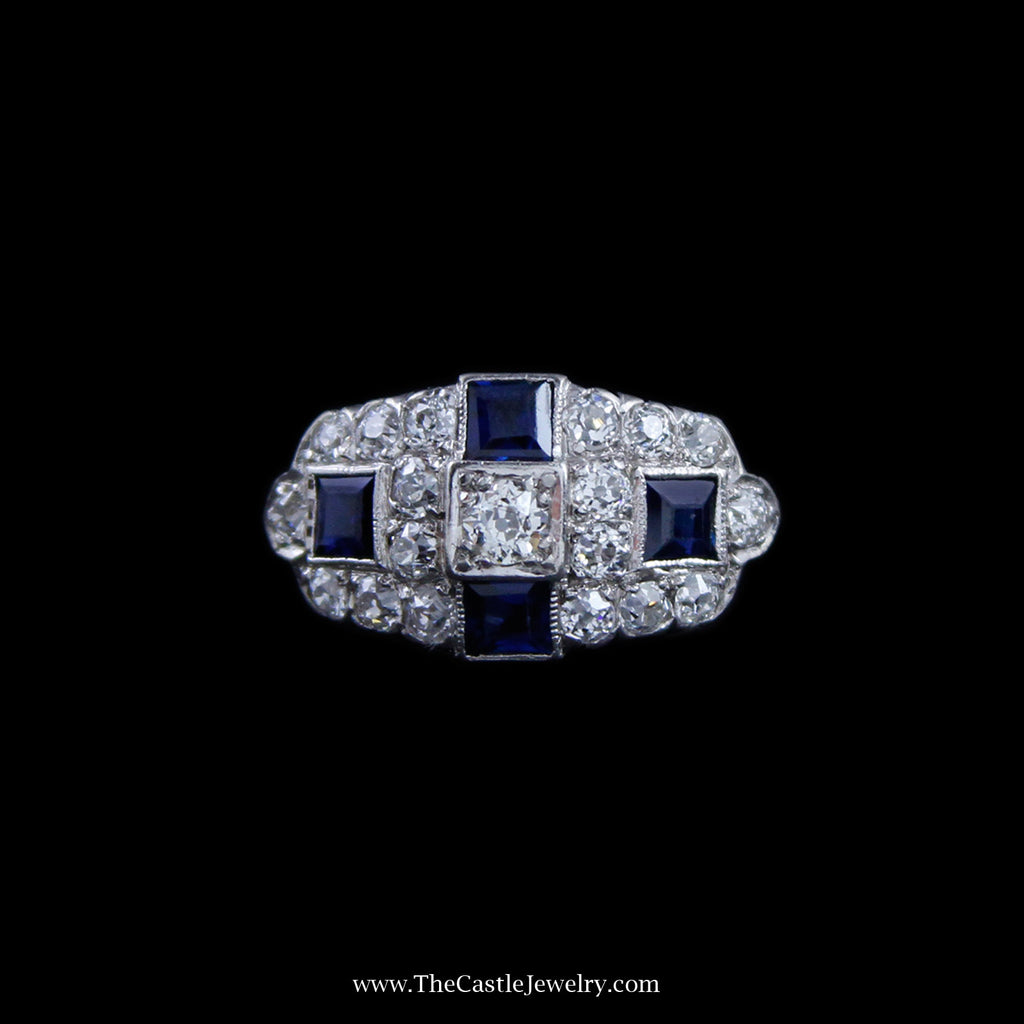 Gorgeous 1cttw Antique Round Diamond Cluster Ring w/ Square Sapphires in Platinum - The Castle Jewelry  - 1
