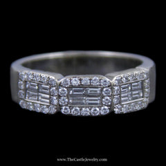 Gorgeous Triple Baguette & round Brilliant Cut diamond Cluster Wedding Band in White Gold - The Castle Jewelry  - 1