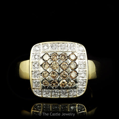 Chocolate & White Round .50cttw Diamond Cluster Ring Set in 14k Gold