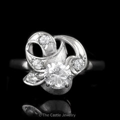 Vintage Loop and Swirl Design Diamond Ring .91cttw Crafted in 14K White Gold - The Castle Jewelry  - 1