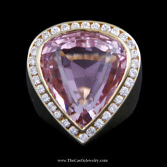 Pear Shaped Kunzite Ring w/ Channel Set Diamond Bezel & Tapered Band in 18k Yellow Gold