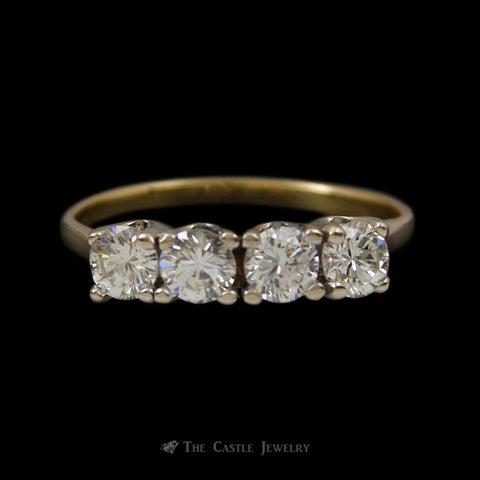 Diamond Wedding Band w/ 1cttw of Prong Set Round Brilliant Cut Diamonds in 14k Yellow Gold