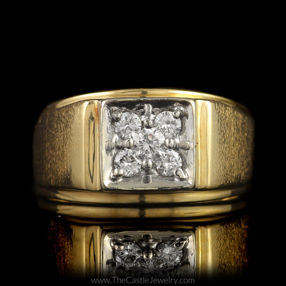 Square Shaped 5 Round Diamond 1/2cttw Cluster Ring Brushed Design Mounting in 14K Yellow Gold - The Castle Jewelry  - 1