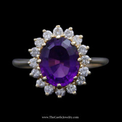 Oval Amethyst Ring w/ Round Brilliant Cut Diamond Bezel Crafted in 14k Yellow Gold