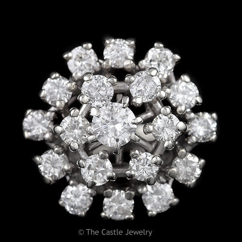 Estate 19 Diamond 2.50cttw Round Cluster Ring in Solid 14K White Gold - The Castle Jewelry  - 1