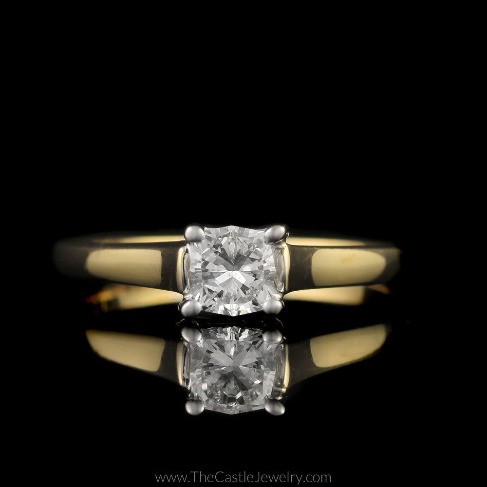 Modern Princess Cut Diamond Solitaire Cathedral Mounting in 18K Yellow Gold - The Castle Jewelry  - 1