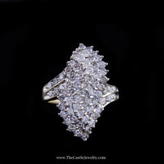 Stunning 2cttw Diamond Waterfall Cluster Ring in 10K Yellow Gold - The Castle Jewelry  - 1