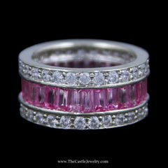 Stunning Baguette Pink Sapphire Band w/ Channel Set Round White Sapphire Edges in White Gold - The Castle Jewelry  - 1
